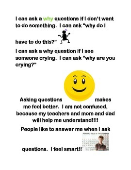 Social Story about kids learning to ask questions