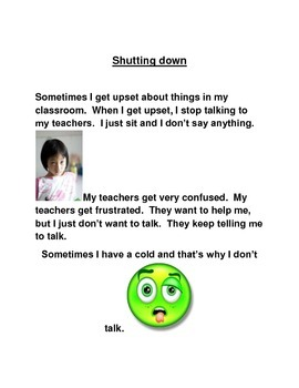 Social Story about kids that verbally shut down
