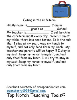 Social Story for Eating in the Cafeteria