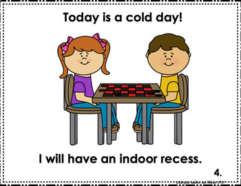 Social Story for Indoor Recess It's too Cold Outside Today Editable