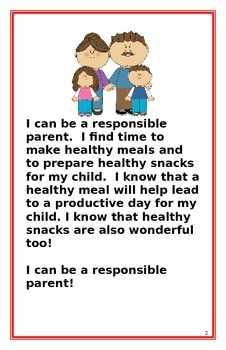 """Social Story for Parents- """"I Can Be A Responsible Parent"""""""