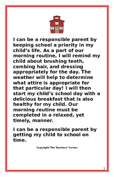 """Social Story for Parents- """"I Can Be A Responsible Parent-Arriving To School"""""""
