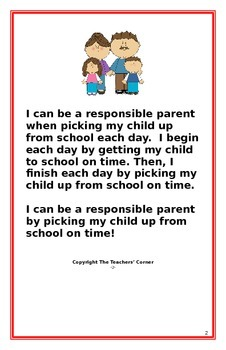 "Social Story for Parents- ""I Can Be A Responsible Parent-Picking Up On Time"""