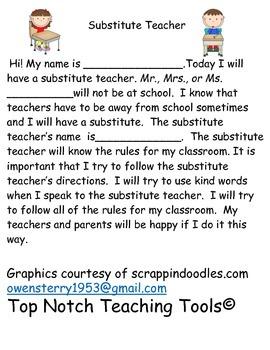 Social Story for Having a Substitute Teacher