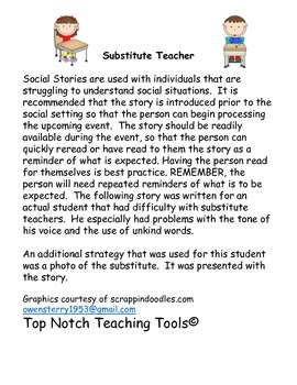 Social Story For Having A Substitute Teacher By Creating