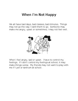 Social Story for controlling feelings and teaching calming strategies