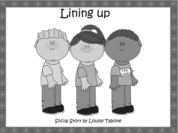 Social Stories:Lining up (2 in one) In color,B&W and white background