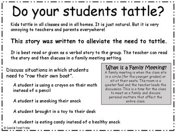 Social Story on Tattling