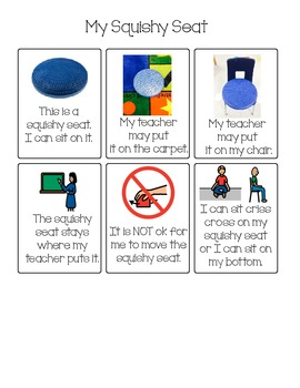 Social Story/Rules for Squishy Seat/Stability Seat for wriggly students