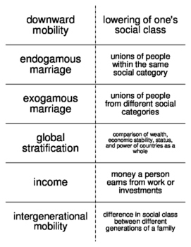 Social Stratification in the U.S. Flash Cards for Sociology