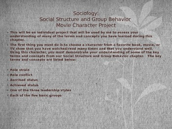 Social Structure and Group Behavior Sociology Movie Character Project