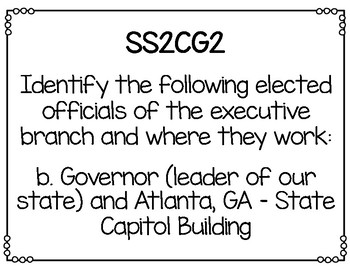 Social Studies Standards Posters Second Grade Georgia Standards of Excellence