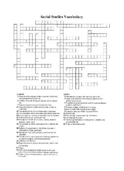 Social Studies Key Vocabulary Terms Crossword puzzle