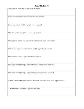 Social Studies 101 Concept Review Guide