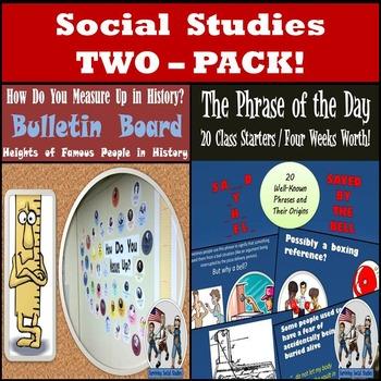 Social Studies 2-Pack : Fun Class Starter & How Do You Measure Up Bulletin Board