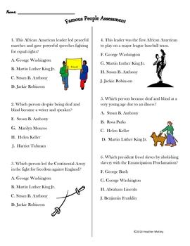 Social Studies: 2.11 Famous Americans: Assessment and Guide
