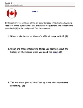 Social Studies 5 Canadian Symbols Info Card Pack Activity