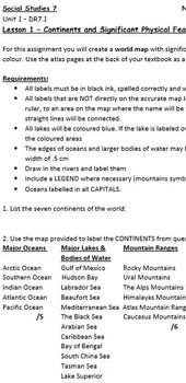 Social Studies 7: Labeling Continents and Significant Features on a World Map