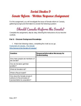 Social Studies 9: Should Canada Reform the Senate? Written Response Assignment