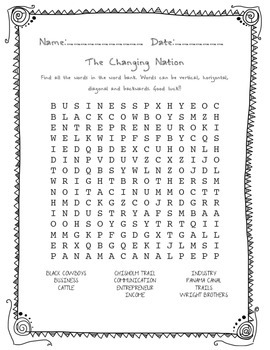 Social Studies-A Changing Nation Word Search