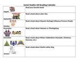 Social Studies AR Reading Calendar to promote reading