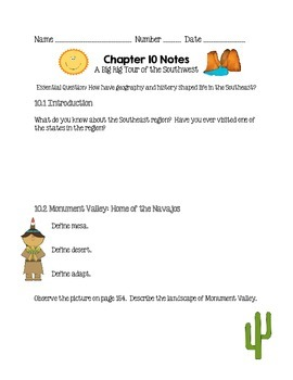 Social Studies Alive Ch. 10 & 11 Notes 4th Grade