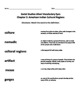 Social Studies Alive Chapter 3 Vocabulary QUIZ American Indian Cultural Regions
