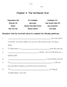 Social Studies Alive! Chapter 4: The Northeast Quiz