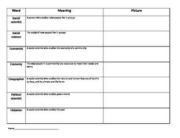 Social Studies Alive Unit 1 Vocabulary Activity