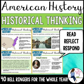 Social Studies American History Historical Thinking Bell Ringers