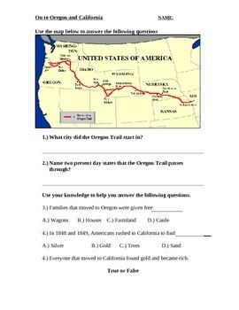 Social Studies American History Oregon Trail Quiz Assessment Worksheet