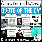 Social Studies American History Quote of the Day Bell Ringers