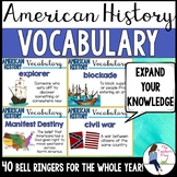 Social Studies American History Vocabulary Bell Ringers