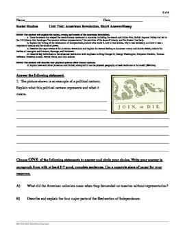 Social Studies American Revolution study guide and test..4th grade