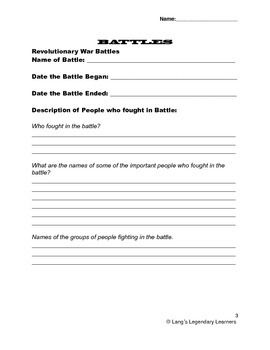Social Studies American Revolution/Revolutionary War Research Project