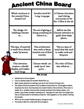 Social Studies: Ancient China Assessment, Study Guide and Game