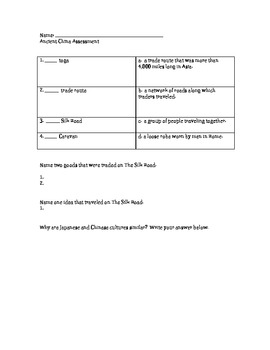 Social Studies - Ancient China - Unit Test - Modified - Assessment