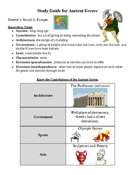 Social Studies: Ancient Greece Study Guide and Assessment