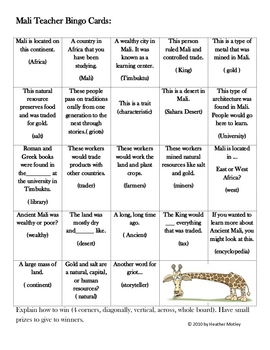 Social Studies: Ancient Mali Assessment, Review Game and Guide