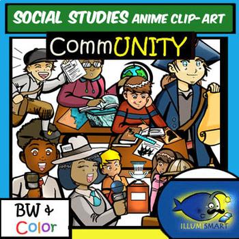 Social Studies Anime Middle School Clip-Art-22 Pieces!