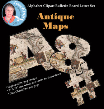 Bulletin Board Letters Featuring Antique Maps for Social Studies