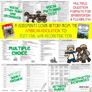 Social Studies Assessments for history: American Revolution to Reconstruction
