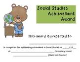 Social Studies Award:  Certificate