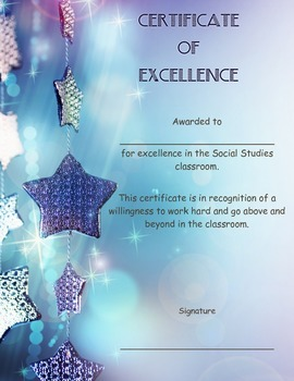 Social Studies: Award/Certificate of Excellence