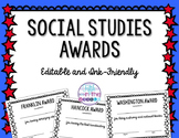 EDITABLE Social Studies Awards in Color and Blackline