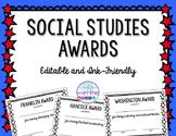 EDITABLE Social Studies Awards in Color and Blackline