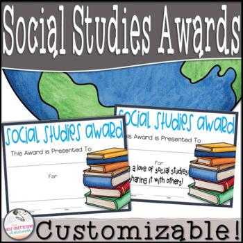 Social Studies Awards (Superlatives) ~EDITABLE!