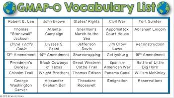 Social Studies BINGO - 5th Grade GMAP Review (Set 1 of 3)