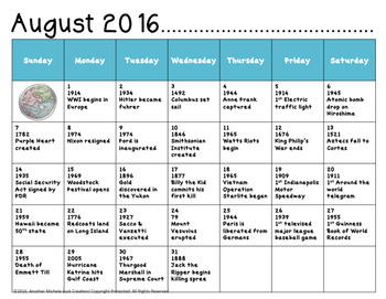 Social Studies Back to School Calendar & Writing Prompts