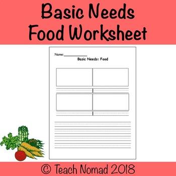 Social Studies - Basic Needs (Food) Graphic Organizer.